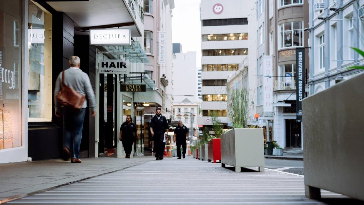 High Street in Auckland; an example of how footpaths can be extended to allow for physical distancing.