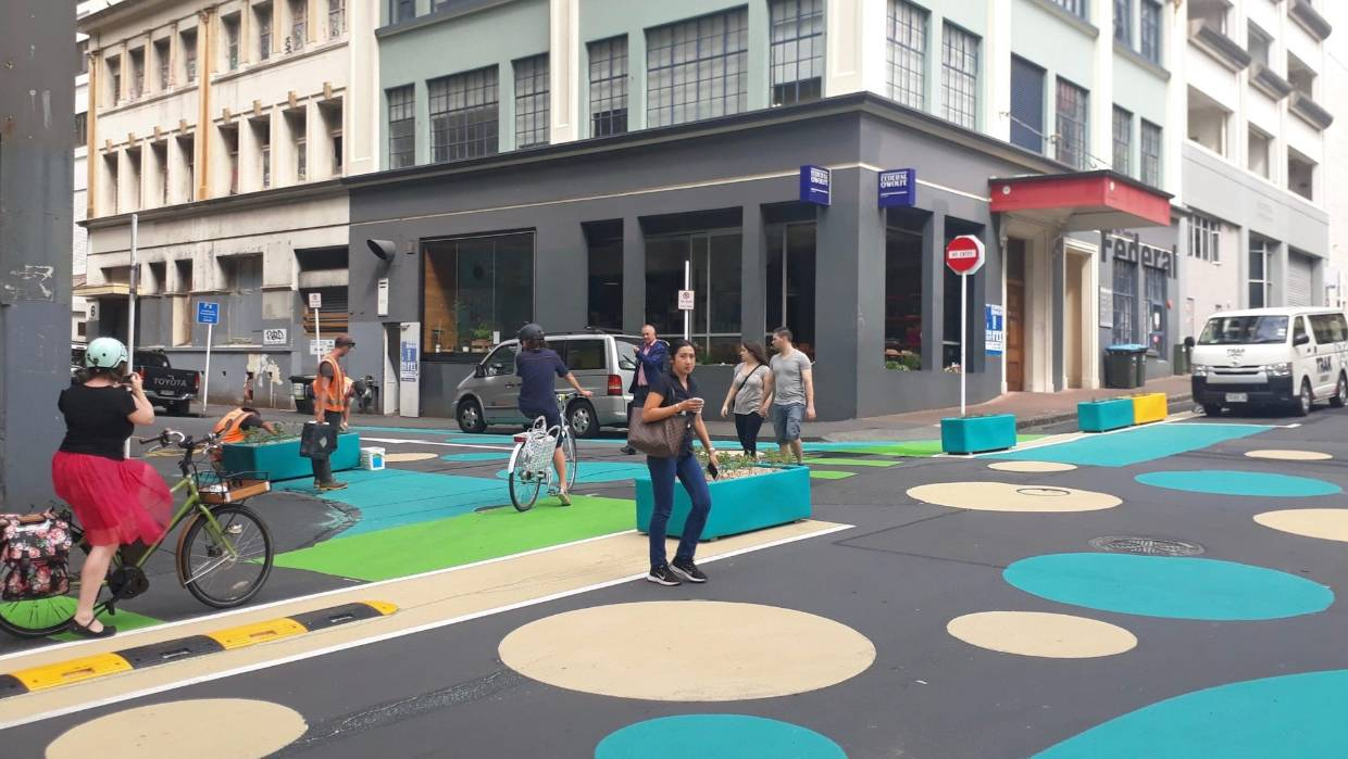 Federal Street in Auckland; more cycleways, extended footpaths - an example of how our cities will be redesigned for Covid-style social distancing. Supplied by the New Zealand Government.