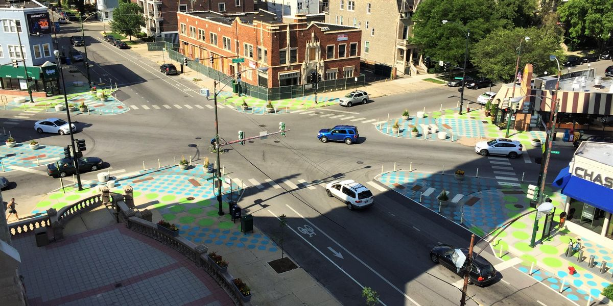 Painted polka dots in Chicago give people a pleasant place to cross the street while slowing down cars. Lakeview Chamber of Commerce
