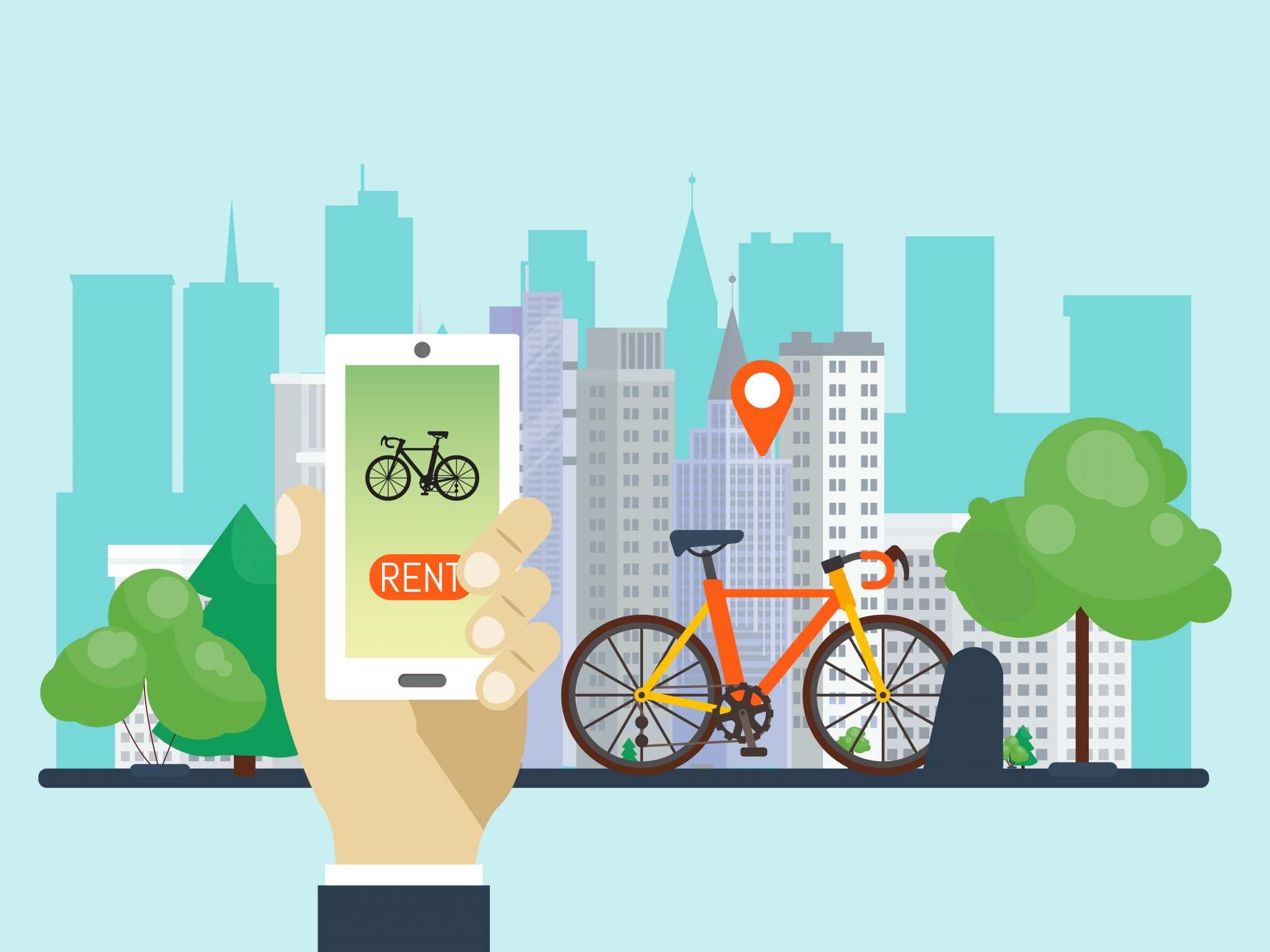 Urban bike renting system by using the phone app vector illustration. Smart service for rent bikes in the city. Hand holding phone with bicycle rent service app. Πηγή: Ingenuity siemens